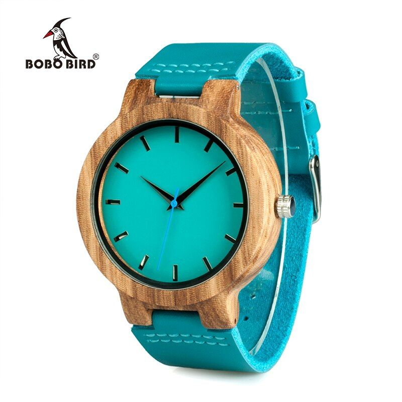 BOBO BIRD Lovers' Watches Women Wooden Men Watch Turquoise Blue Timepieces in Gift Box Relogio Masculino Drop Shipping W-C28