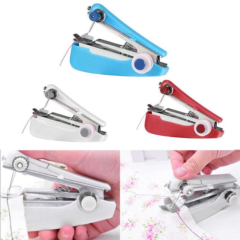 Tragbare Hand Schnurlose Hause Nähmaschine Schnelle Tisch Mini Handheld Manuelle Einzigen Stich Stoff Kleidung Nähen Machi DIY