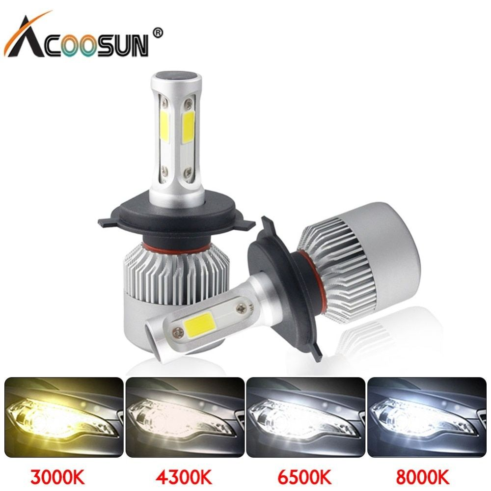 LED 4300K S2 H4 H7 H1 COB LED Headlight Bulbs H11 H13 12V 9005 9006 H3 9004 9007 9012 72W 8000LM Car LED lamp 3000K 8000K 6500K