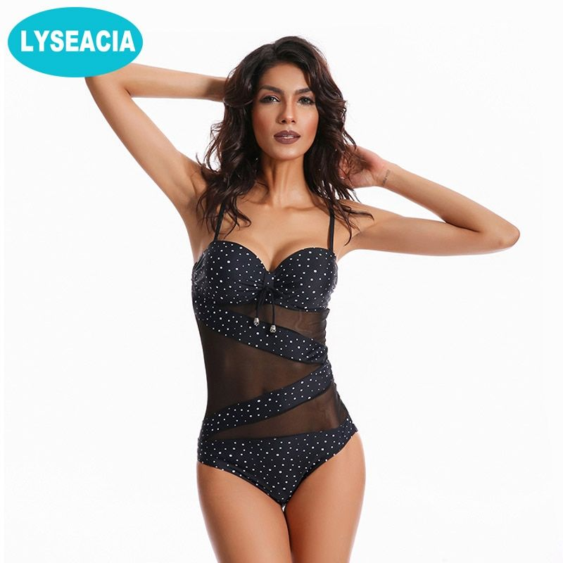 LYSEACIA Punkte Monokini Plus Size Bademode Frauen Badeanzug Push Up Badeanzug frauen Mesh Female Beachwear