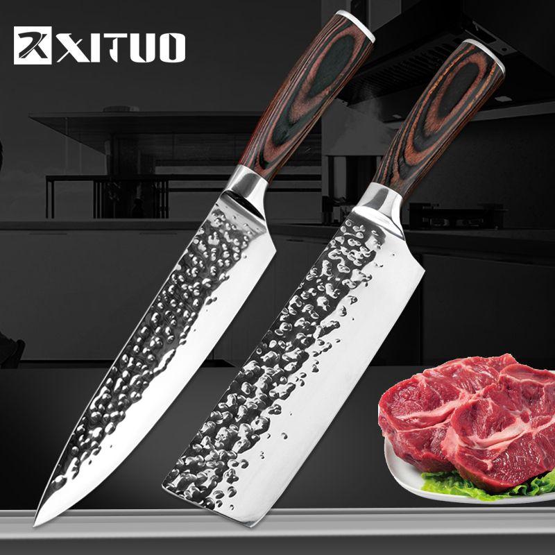 XITUO couteau de cuisine Chef 8 pouces couteaux en acier inoxydable Sushi viande Santoku japonais 7CR17 440C couteau à haute teneur en carbone cuisson Pakka Wo