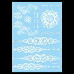 1 pc Waterproof Tattoo Temporary WM-LS1010 Putih untuk Wanita Tubuh Leher Art Bunga Surat Perhiasan Pasta Tato Henna Stiker Pernikahan
