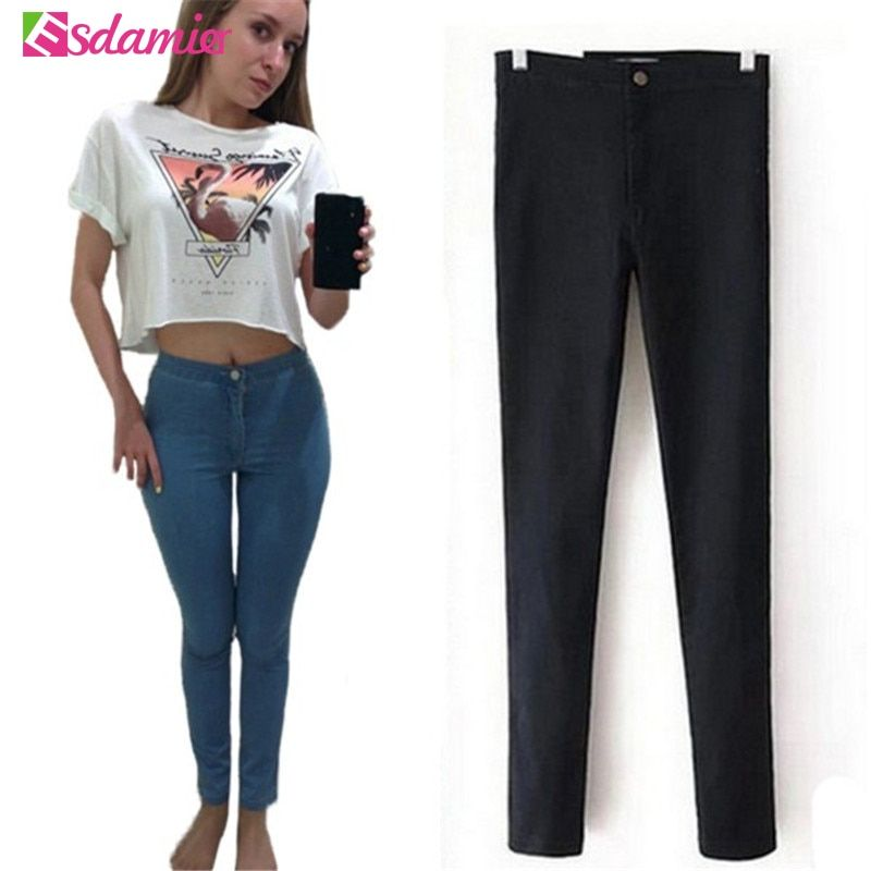 Hot Selling High Waist Jeans Woman Skinny Jeans Femme Stretch Ladies Jeans <font><b>Slim</b></font> Lift Hip Denim Pants Trousers For Women