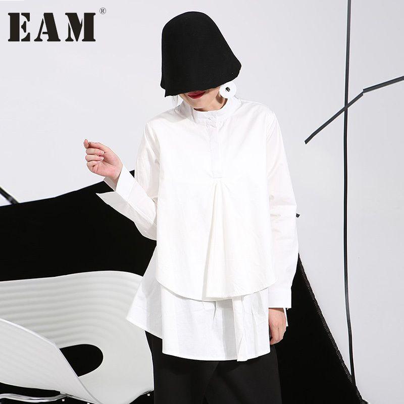 [EAM] 2017 winter autumn plus size shirts women blouses Long-sleeve white loose tops black shirt big size C006111