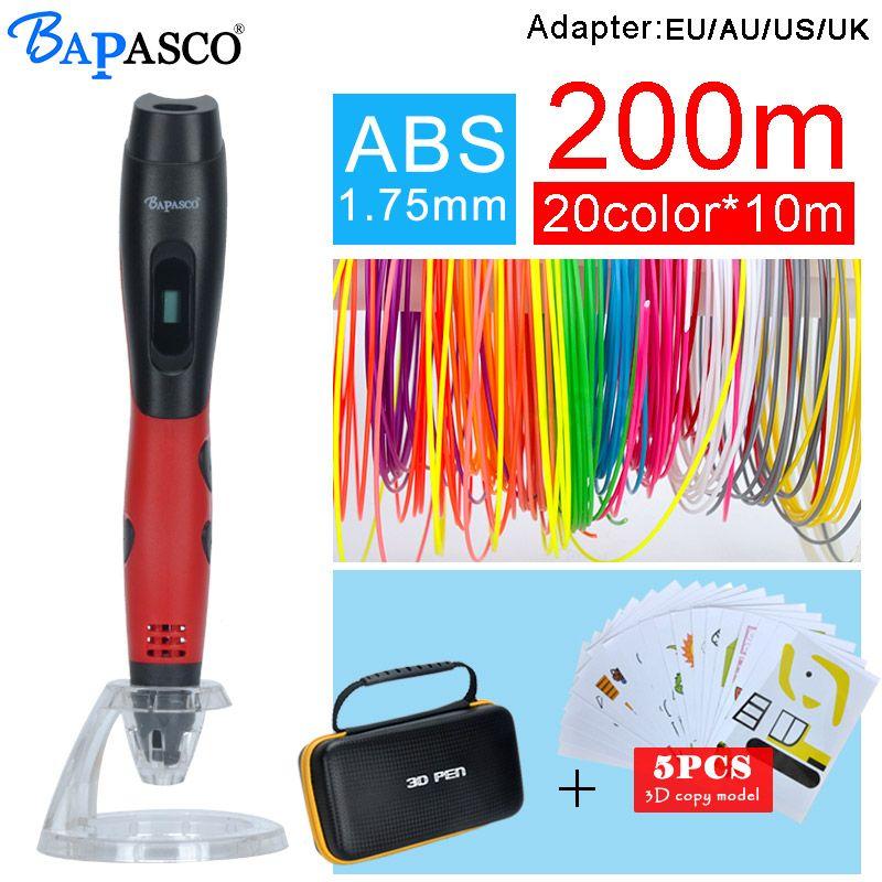 <font><b>BAPASCO</b></font> 3D pen bp-04 add 5pcs copy model and 1.75mm abs filament kids diy drawing pen 3D molding,5V 2A usb adapter,oled display