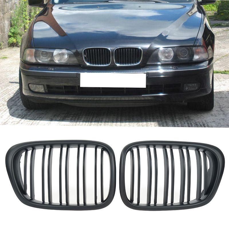 Liplastin 2pcs Matte Black/Glossy Black Front Kidney Grille Grill for BMW 5 Series E39 520i 98-03 Car Styling