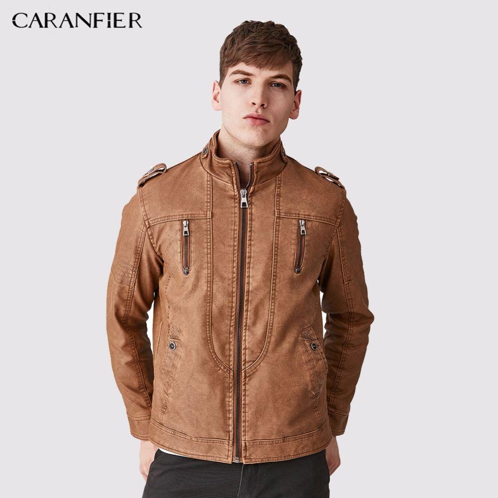 CARANFIER Hommes Épaisse Toison Veste En Cuir Survêtement Occasionnel De Mode Hommes D'affaires Style Boutons Pied de Col Chaud Coupe-Vent Manteau