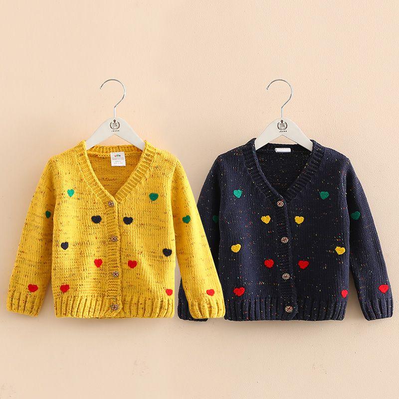 2018 осень зима любовь Детский свитер пальто новое поступление Дети вязать любовь сердце свитер Симпатичные длинным рукавом Вязание свитер