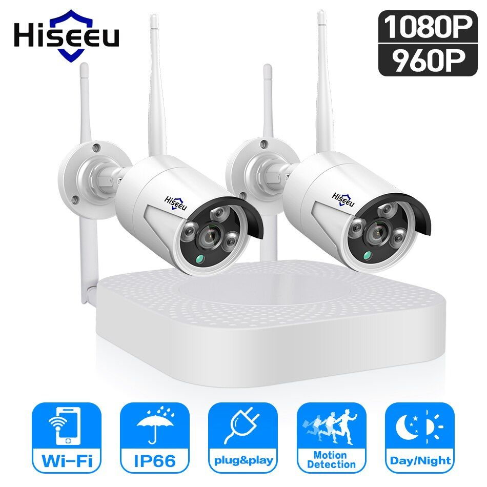 Hiseeu wifi home security camera system wifi 4CH 1080P CCTV NVR Kit 2pcs 960P/1080P wireless video surveillance IP camera system