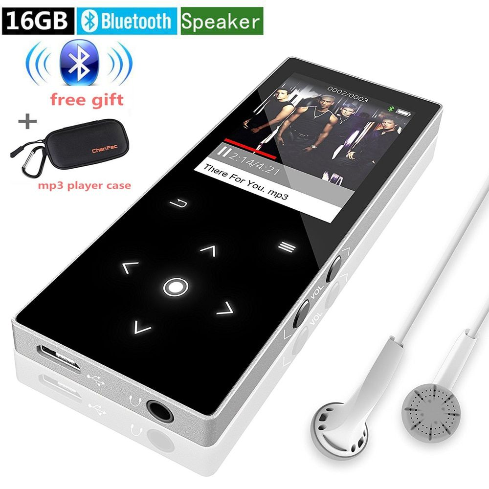 MP4 Player Bluetooth 16G with Speaker Touch Screen Supports Video, FM Radio Lossless Music Player Supports 128GB Memory Card