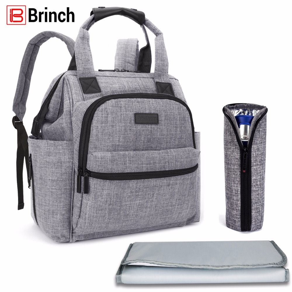 BRINCH Multifunctional Diaper Bag For Mother Baby Nappy Bag Backpack Large Capacity Mummy Bag With Changing Pad Stroller Straps