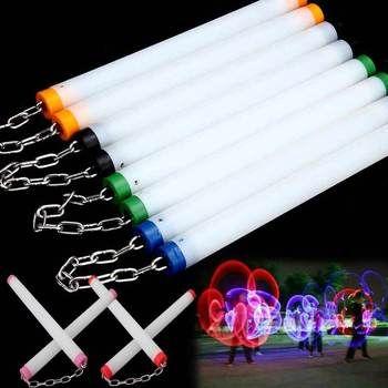LED Light Nunchakus Glowing Fluorescent Performance Kongfu Nunchaku Sticks Light Up Toys @Z280 S7JN
