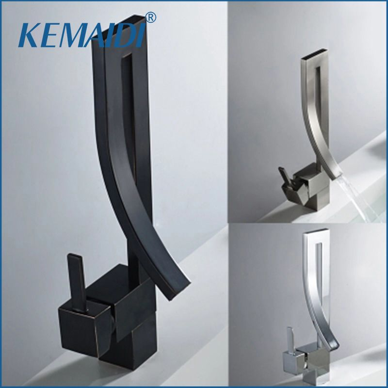 KEMAIDI Black Brass Basin Faucet Single Handle Waterfall Basin Mixer Tap Hot & Cold Bathroom Faucets Sink Waterfall Faucet <font><b>Drain</b></font>