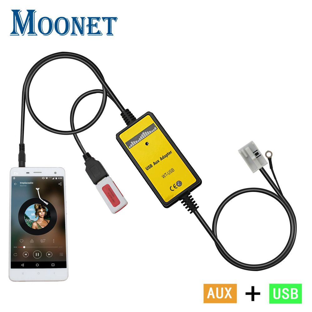 Moonet Car MP3 player adapter 3.5mm AUX-IN TF SD USB CD Changer For 12P VW Audi Seat Audio QX091