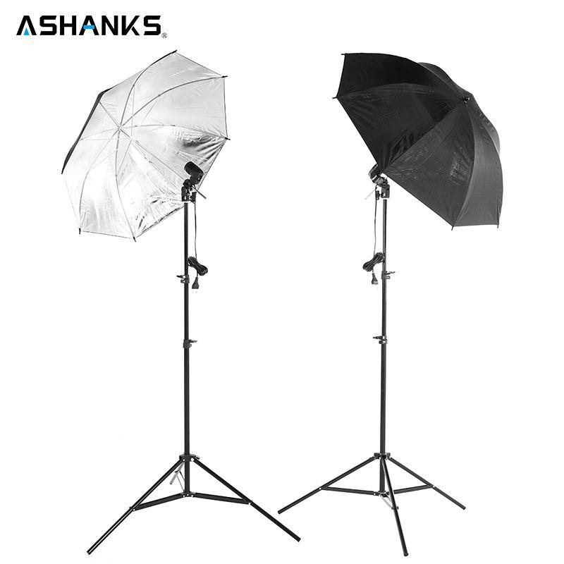 2 pièces 83 CM Parapluie Réflecteur Photo Studio + 2 pièces 2 M support Lumineux + 2 pièces unique support de lampe Photographie Softbox Kit de Lumière