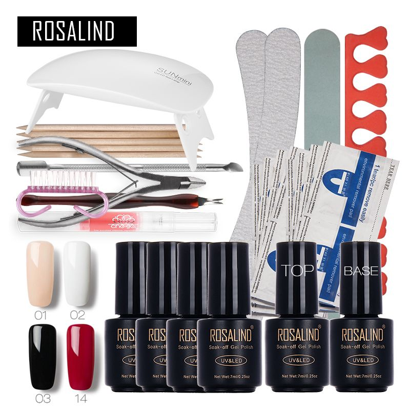 ROSALIND Nail Art <font><b>Tools</b></font> Set Cure 6W UV Lamp Gel Polish Soak Off Base Coat Top Coat Gel Nail Manicure Kits gel lacquer