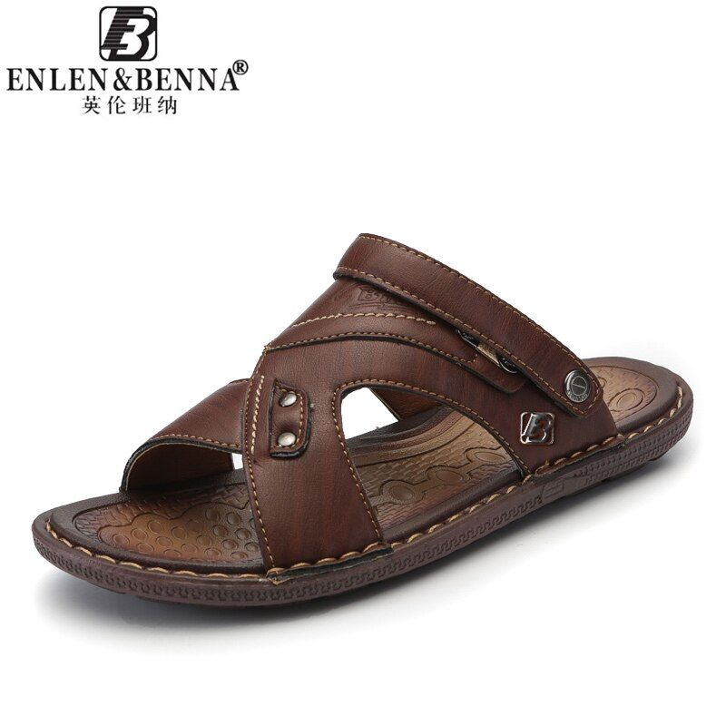 Men's Casual Shoes Fashion Sandals Summer Men's Slippers Leather Shoes Beach Breathable Home Slippers Flip-Flops Zapatos Sapato