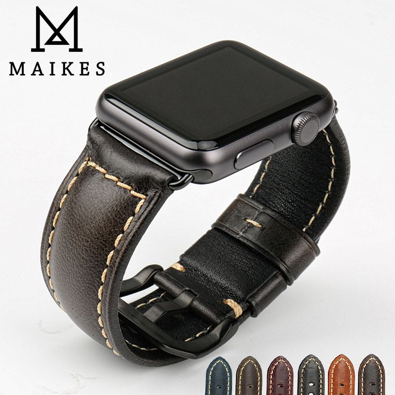 MAIKES Genuine leather watch bracelet accessories for apple watch strap 38mm <font><b>black</b></font> apple watch band 42mm iwatch watchbands