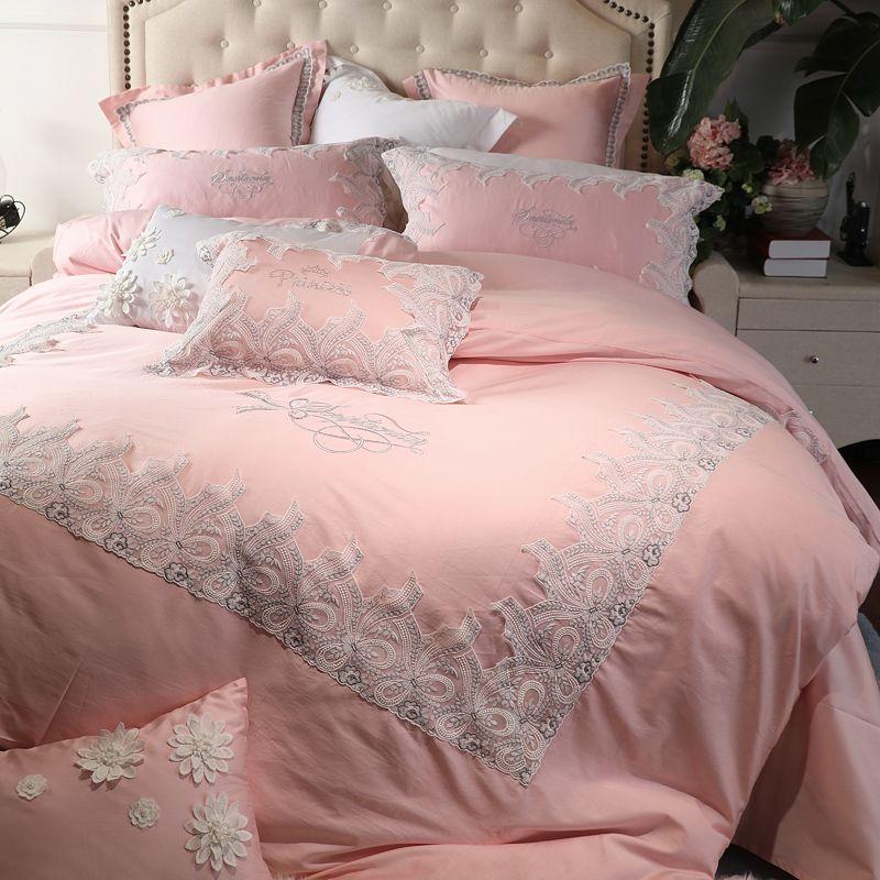 Luxus Ägyptischer Baumwolle Spitze Prinzessin Königlichen bettwäsche-sets Königin König größe Mädchen Bett set Grün Rosa bettbezug Bett blatt set Geschenke