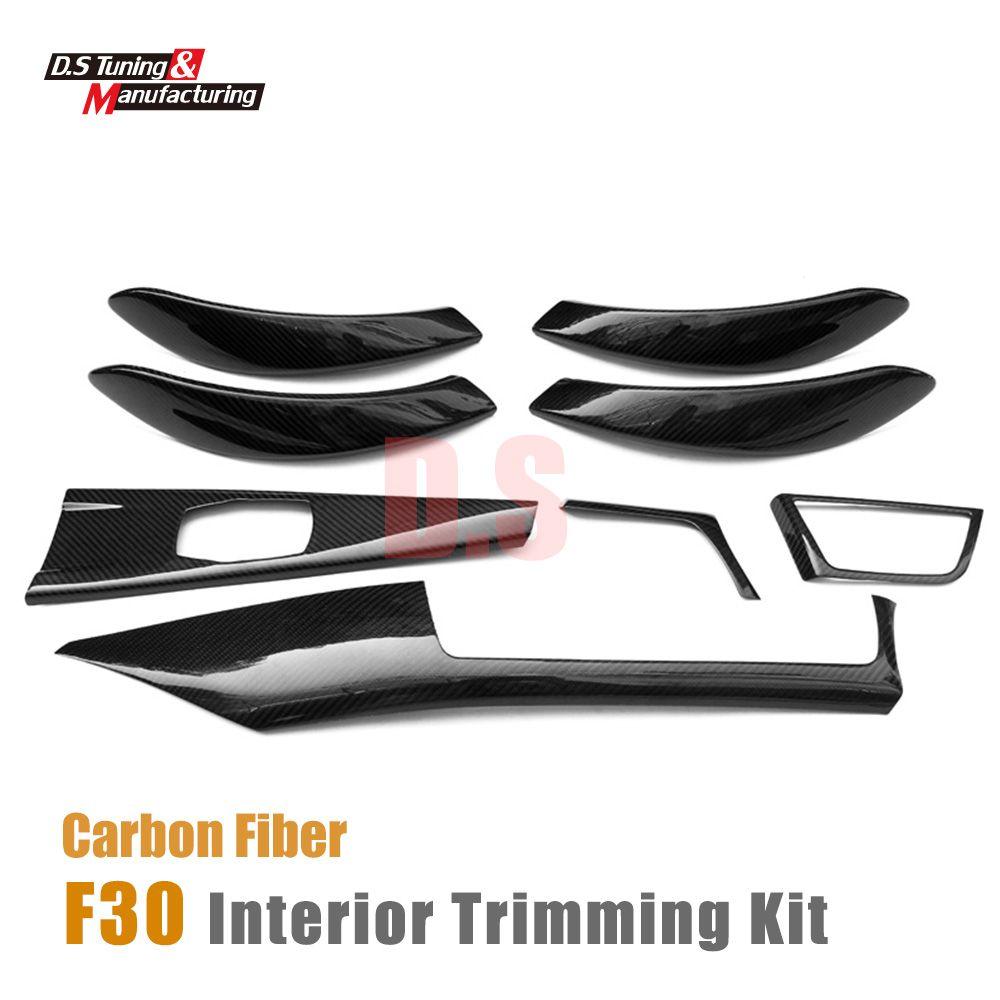 Carbon fiber interior trimming dashboard air trim inter door handle cover For BMW 3 Series F30 GT F34 2012 - 2015 4-doors sedan