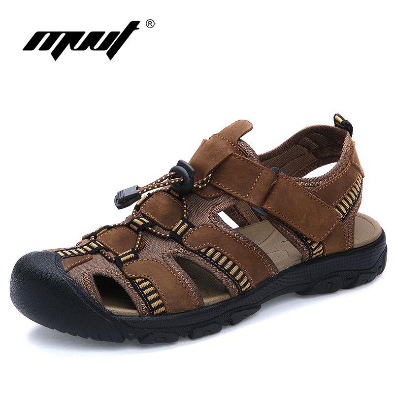 Quality plus size 47 sandals men comfort genuine leather men sandals classics summer sandals men non-slip outdoor beach sandals