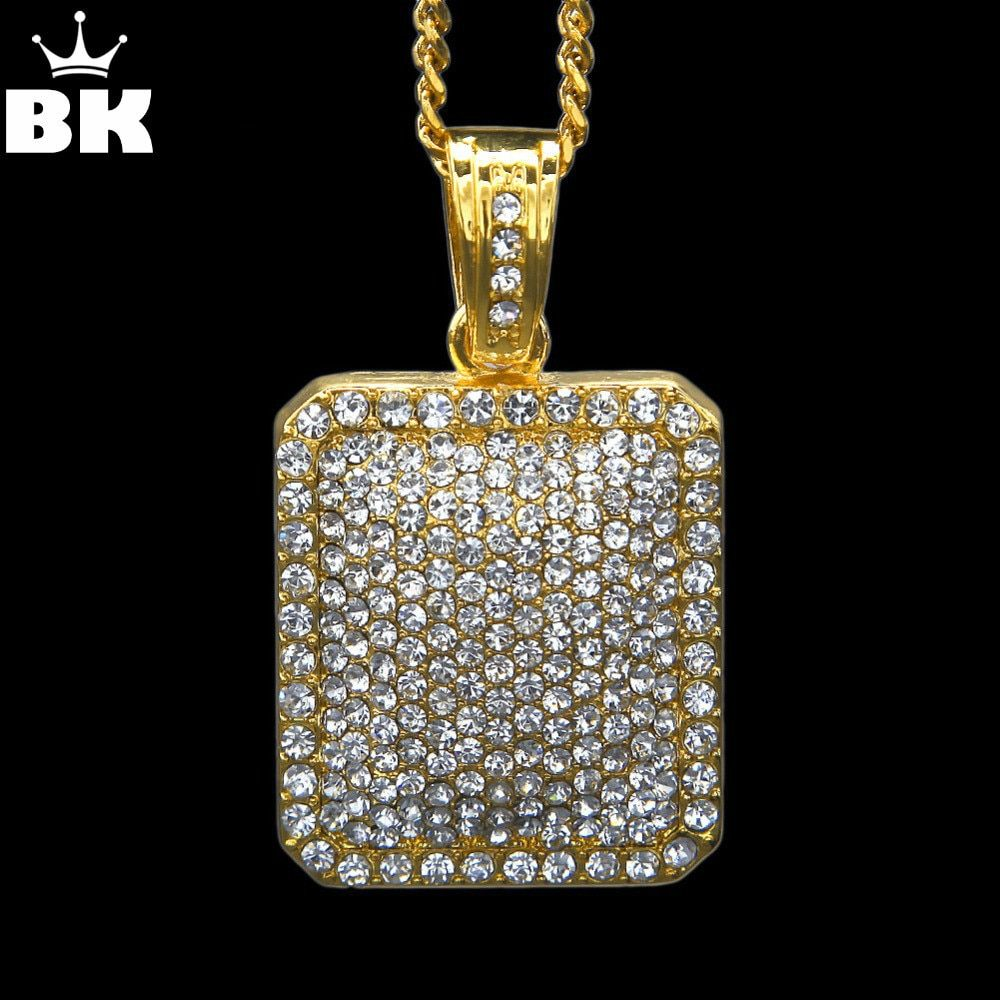 Mens Full Iced Out <font><b>Rhinestone</b></font> Gold Silver Color Square Dog Tag Pendant 5mm*30'' /3mm*24 Cuban Chain Hip Hop Blingbling Necklace