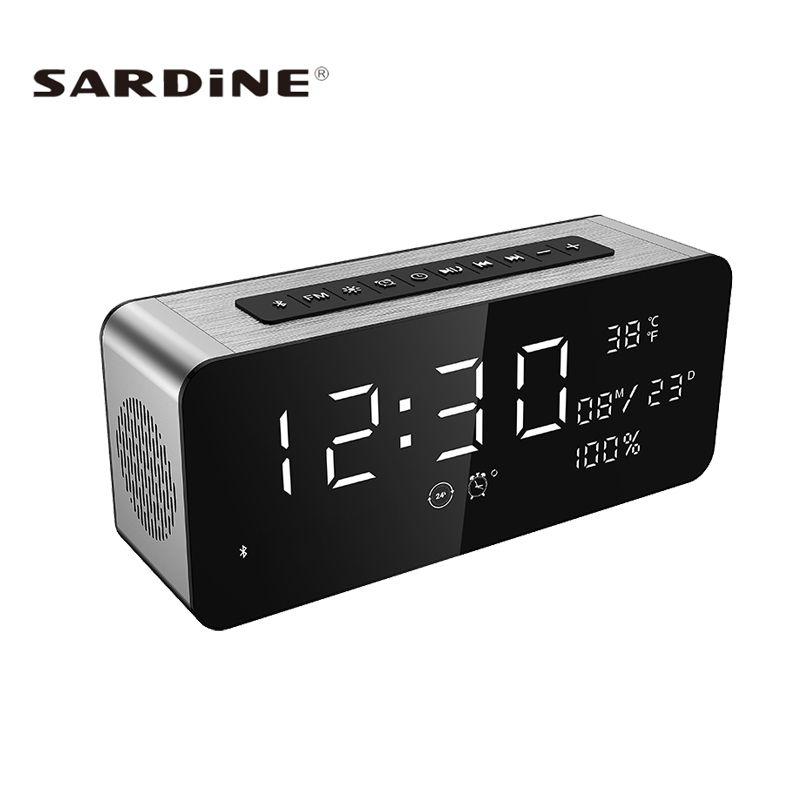 Sardine A10 Bluetooth Speaker LED Screen 12W Super Heavy Bass Portable Speakers Wireless Soundbar FM <font><b>Radio</b></font> TF AUX Alarm Clock