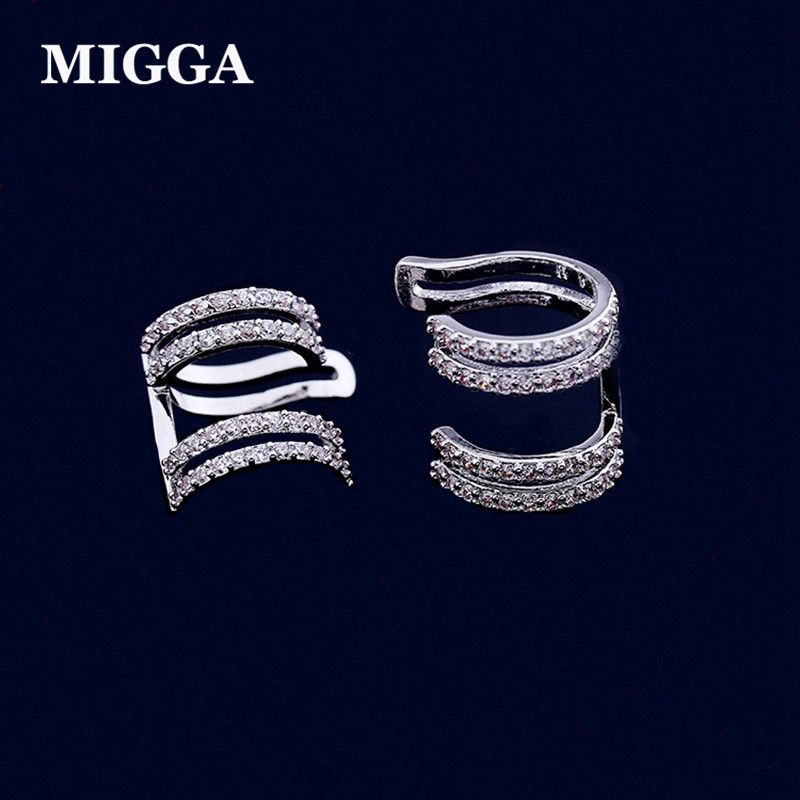 MIGGA Micro Cubic Zirconia Crystal Geometric Clip Ear Cuff Earrings Silver Color Women No Pierced Jewelry
