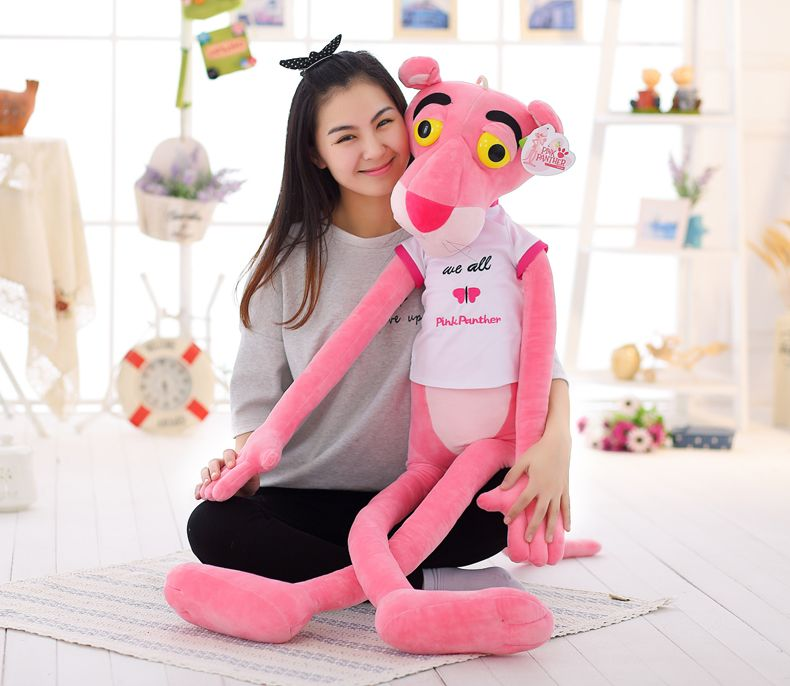 stuffed animal 140 cm pink panther with cloth plush toy soft doll throw pillow b1463