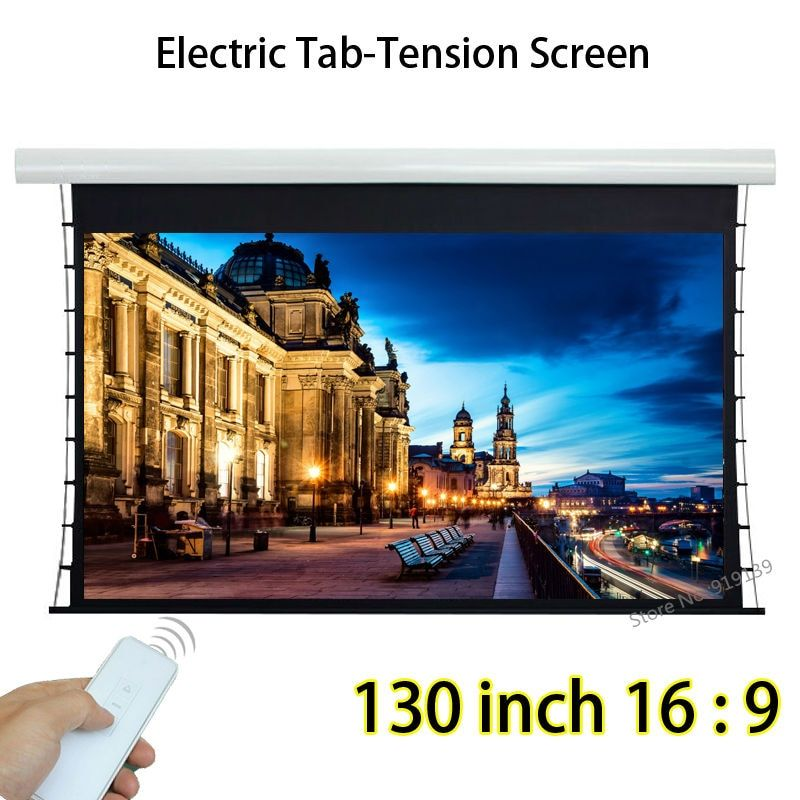 Full HD 130inch 16 By 9 Tensioned Auto Projection Projector Screen With Wireless Remote Control For Home Theater