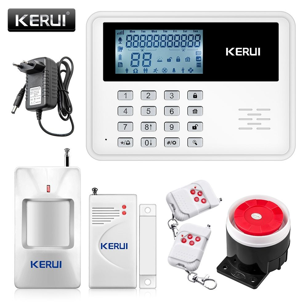 KERUI 5900G <font><b>Voice</b></font> Prompt GSM Alarm Systems LCD Display Wireless Door Sensor Home Security Wired Siren Kit SIM SMS Burglar Alarm