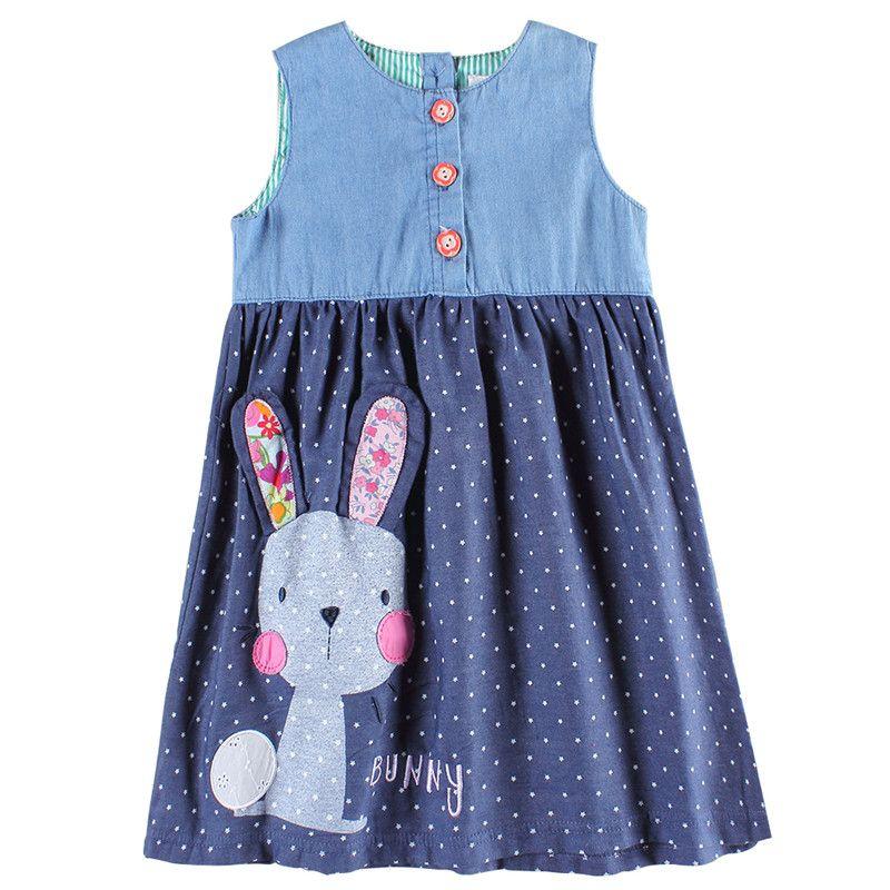 Niñas vestidos Nova niños jeans ropa moda bebé conejo Niñas frocks verano Venta caliente Niñas desgaste vestidos vestido