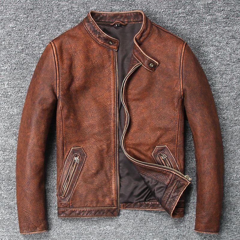YOLANFAIRY 100% Reine Kuh Leder Mantel Für Männer Frühling Herbst Geniune Leder Jacken Kurze Schlanke Motorrad Vintage Outwear MF131