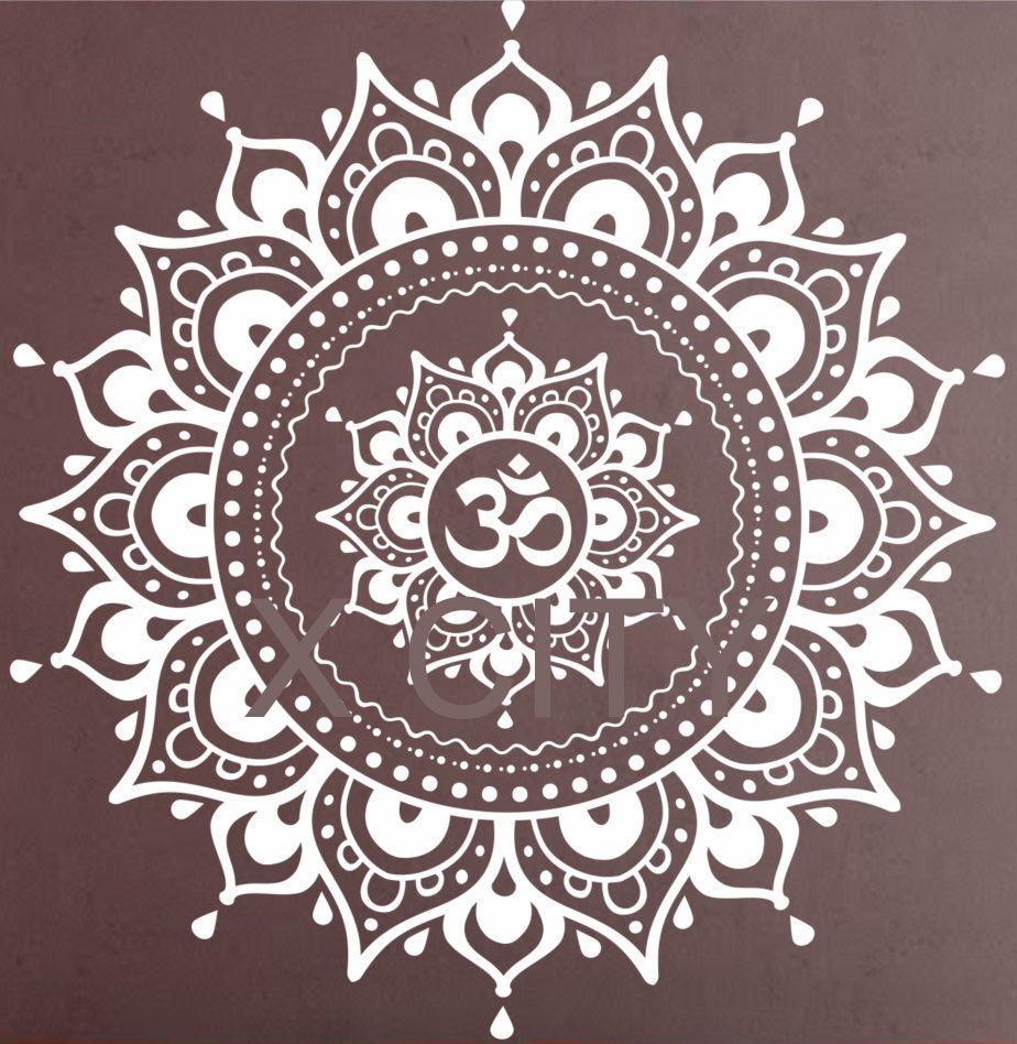 Mandala motif grand Sticker Mural vinyle Art autocollant Yoga Lotus méditation décor à la maison Mural noir blanc