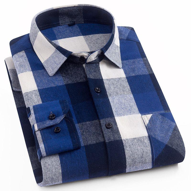 Chemise homme manches longues en flanelle brossée poche plaquée unique motif à carreaux colorés audacieux & 100% coton travail ou chemises habillées