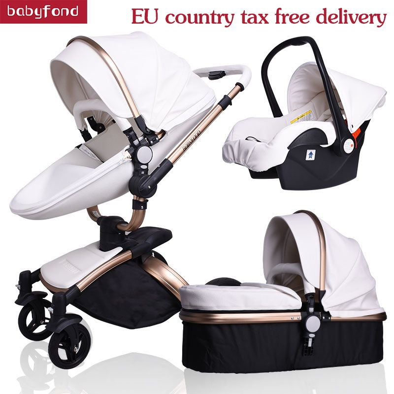 Babyfond 3 in 1 Luxury baby stroller PU MATERAIL two-way push absorbers baby car cart trolley Europe baby Pram Free Gift AULON