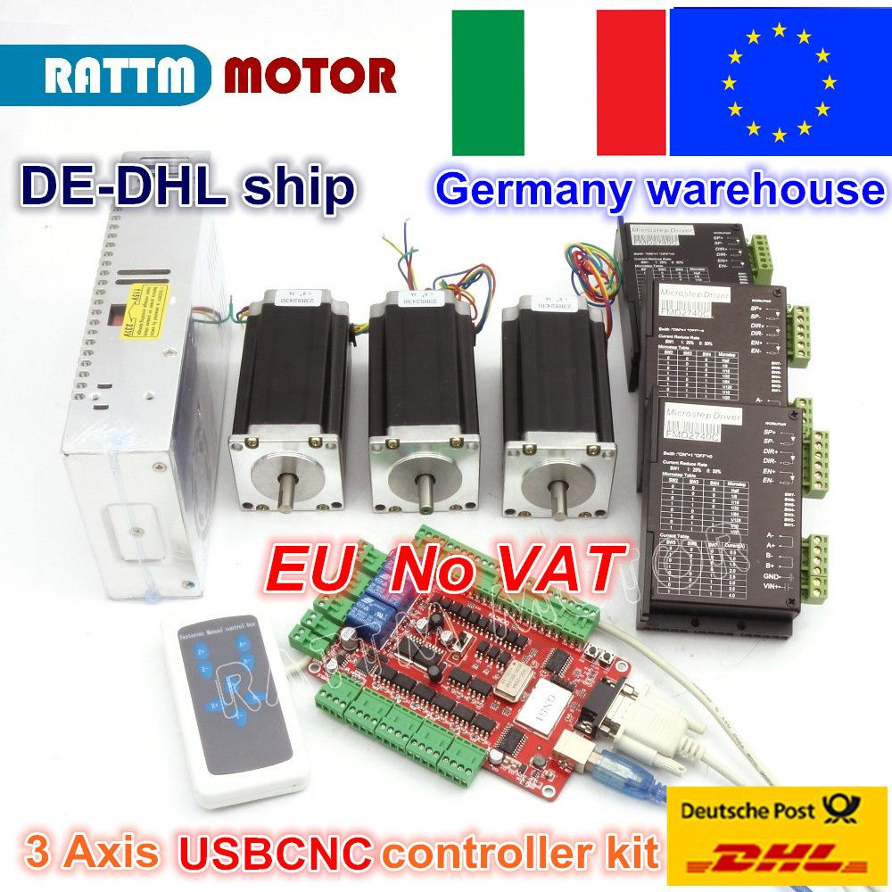 3 Axis USBCNC CNC Controller kit Nema 23 Stepper Motor(Dual Shaft) 425oz-in 112mm 3A & Driver 40VDC 4A 128 microstep