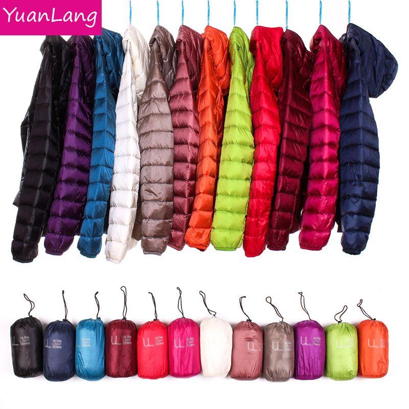 Winter Women Ultra Light Down Jacket 90% Duck Down Hooded Jackets Long Sleeve Warm Slim Coat Parka Female Solid Portabl Outwear