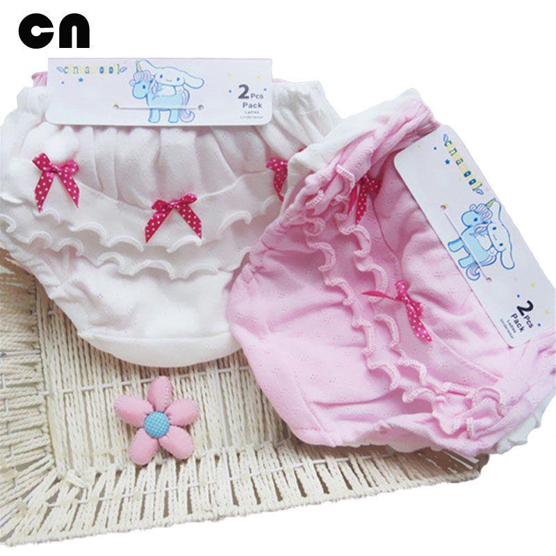 2 шт./лот Одежда для малышей хлопок древесины уха лук розовый и белый Нижнее Бельё для девочек От 0 до 2 лет новорожденных шорты для маленьких ...