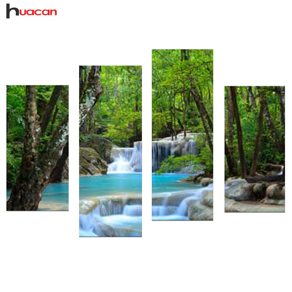 HUACAN DIY Trees and Waterfall Diamond Painting Pictures of Rhinestones 4pcs Full Square Diamond Embroidery Scenic Home Decor