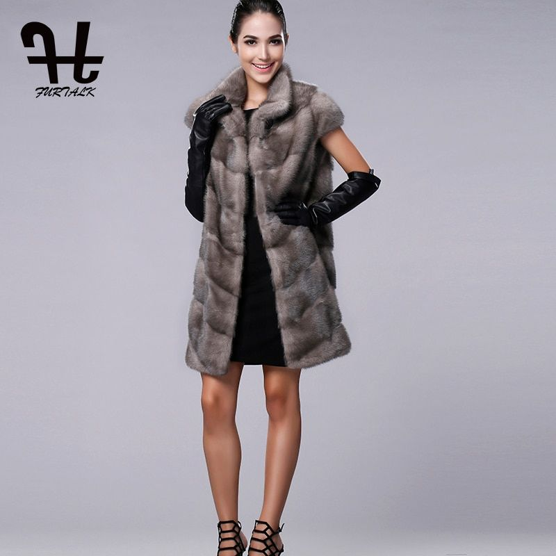 FURTALK 100% Real Mink Fur Vest Long Women Winter Fur Vest High Quality Mink Fur Coat for women