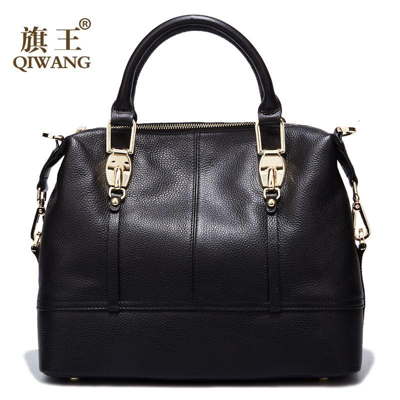 QIWANG Women Genuine Leather Bags Roomy Hobo Handbags <font><b>Full</b></font> Grain Cowhide Handbags Ladies Fashion Purses for Commuting&Party