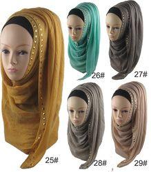 Vente chaude Long Rivet Femmes Lady Châle Wrap Hijab Islamique caftan Abaya Voile Musulman Écharpe Chaud Viscose Foulards Foulard Un pièce