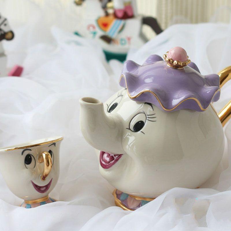 Offre spéciale dessin animé beauté et la bête Style ancien théière tasse Mrs Potts puce thé Pot tasse un ensemble joli cadeau pour ami achats gratuits