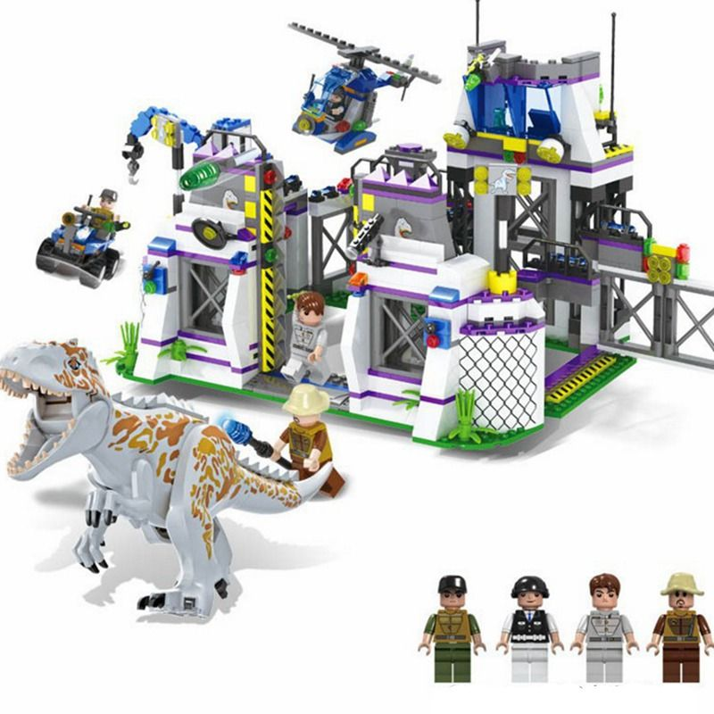Upgraded Jurassic Dinosaur World Tyrannosaurus Escape 826Pcs Building Blocks Toys for Children Compatible with Legoing Toy Gift