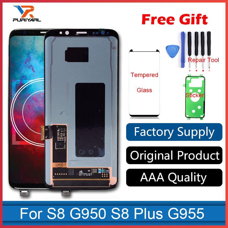 100% Original Super Amoled LCD Screen für Samsung Galaxy S8 Display G950 S8 + S8 Plus G955 Wandler Mit Rahmen Ersatz + Geschenk