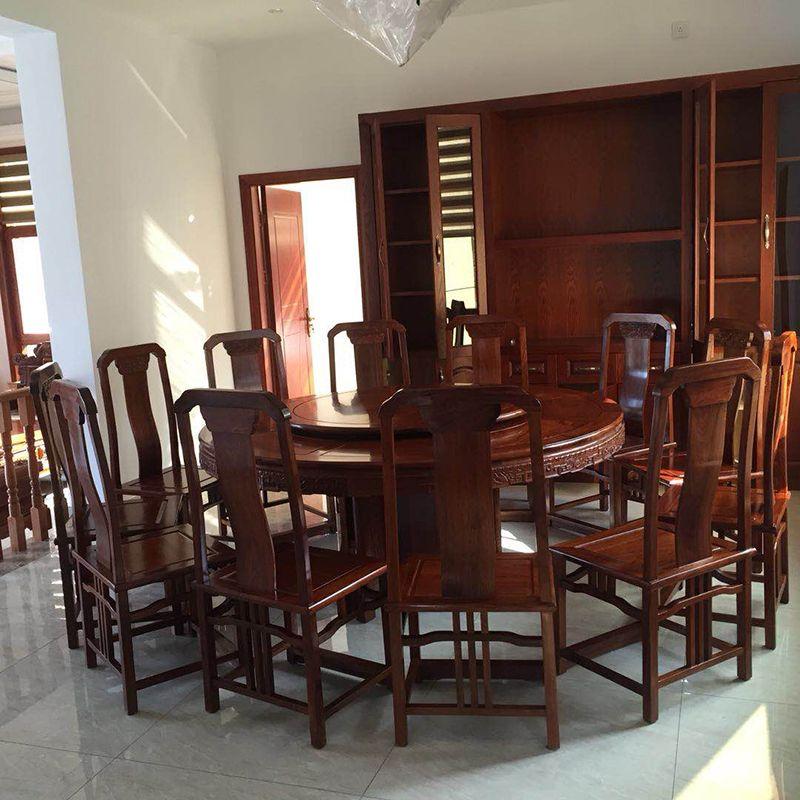 1,8 M Hedgehog palisander Runde Tisch Set 12 Stuhl Massivholz Sessel Schreibtisch Klassische Rot holz Annatto Esszimmer Möbel set