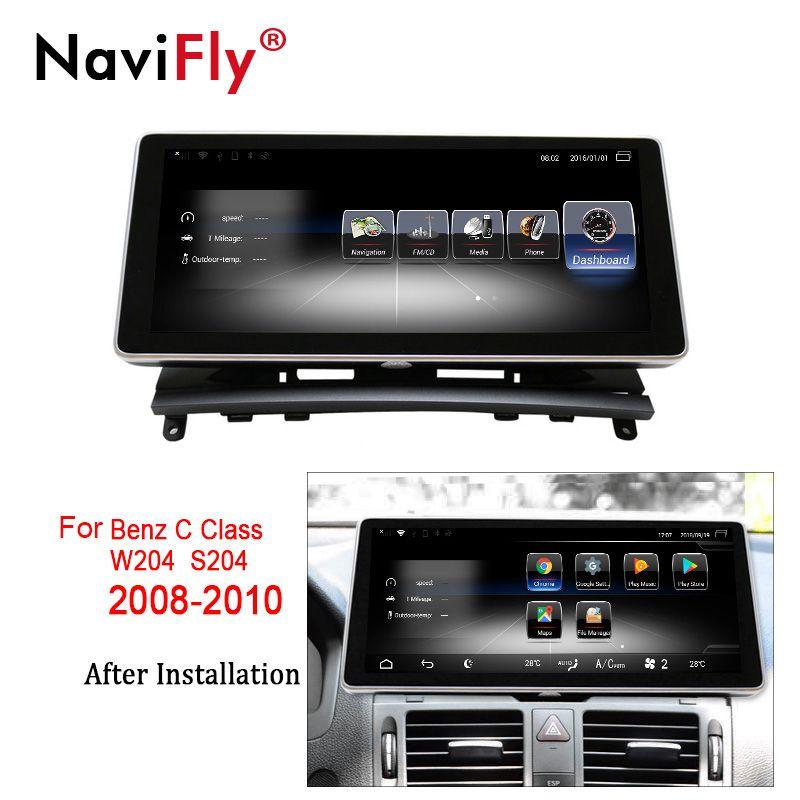 NaviFly Android 7.1 auto multimedia-player für Benz C Klasse W204 2008 2009 2010 10,25 inch gps navigation unterstützung 4G LTE WIFI BT