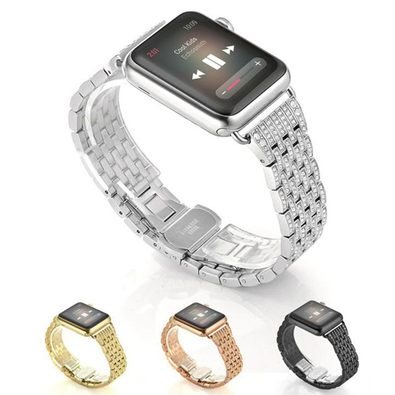 316L Luxury Diamond Crystal Stainless Steel band for apple watch 42 38 watchband & metal watch bracelet for iwatch 1 2 3