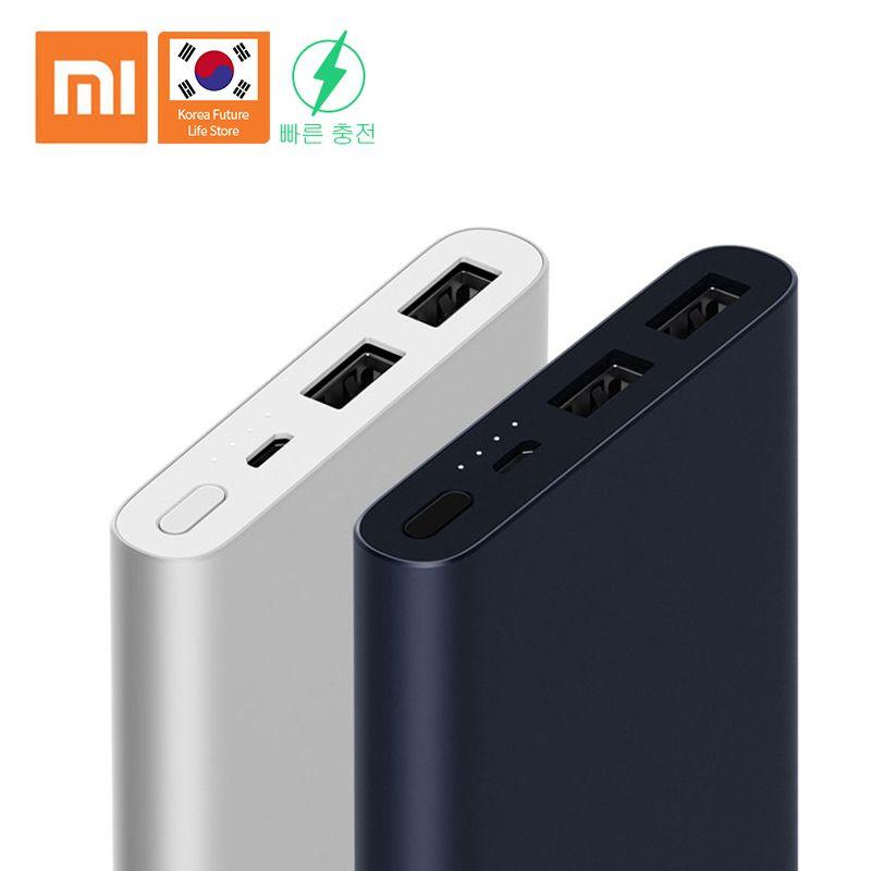 Xiaomi Power Bank 10000 mAh 2i Dual USB Li Batterie Bi-directional schnelle ladung Dünne Tragbare anzug für Android /Apple Telefon